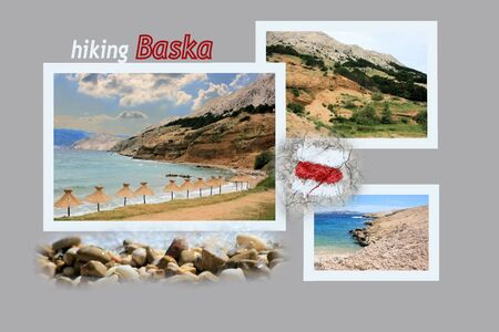 Design for postcard, Baska, to lighthouse, Croatia, with text