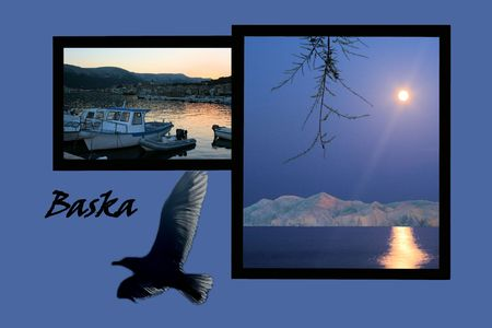 Design for postcard, Baska, Croatia, with text
