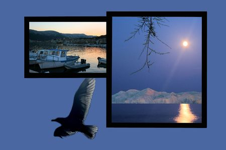 combi: Design for postcard, Baska,  Croatia