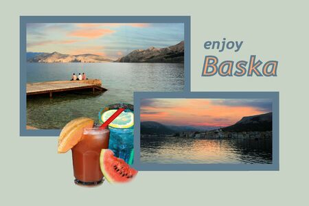 Design for postcard, Baska, Croatia, with text photo