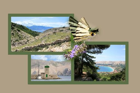 Design for postcard, Baska,  Croatia