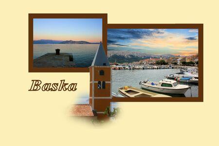 combi: Design for postcard,  Baska, Croatia, with text