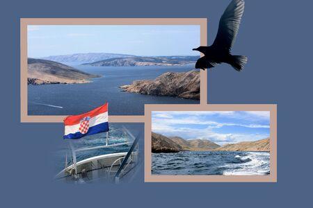 Design for postcard, to Vela Luka, Baska, Croatia