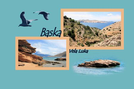 Design for postcard, to Vela Luka, Baska, Croatia, with text photo