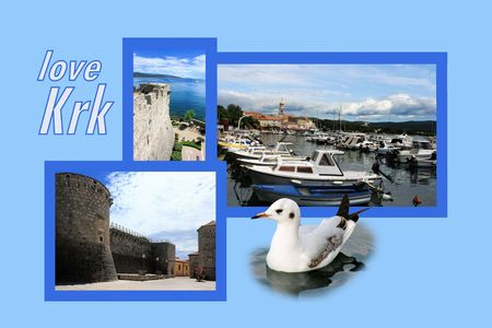 Design for postcard, Krk, Croatia, with text