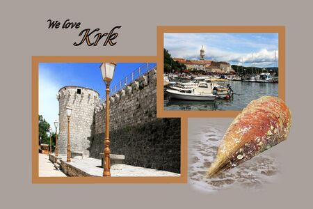 Design for postcard, Krk, Croatia, with text photo