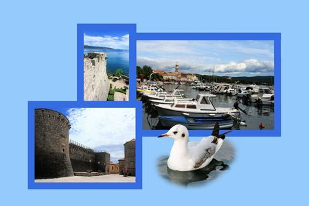 fishing village: Design for postcard, Krk, Croatia