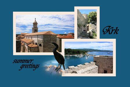 Ontwerp voor briefkaart, Krk, Kroatië, met tekst