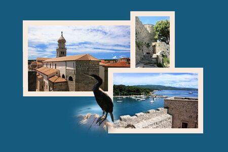 shallop: Design for postcard, Krk, Croatia