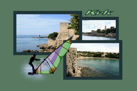 fishing village: Design for postcard, Krk, Croatia, with text