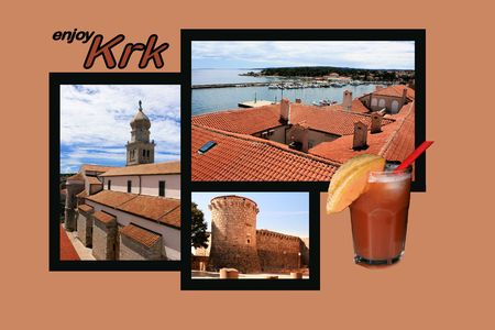 shallop: Design for postcard, Krk, Croatia, with text