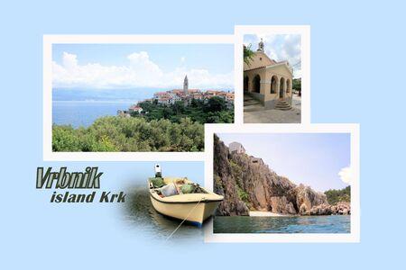 Ontwerp voor briefkaart, Vrbnik, eiland Krk, Kroatië, met tekst
