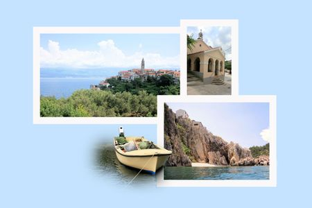 krk: Design for postcard, Vrbnik, island Krk, Croatia Stock Photo