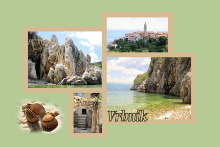 krk: Design for postcard, Vrbnik, island Krk, Croatia, with text