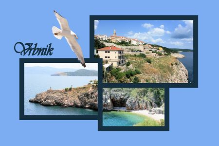 shallop: Design for postcard, Vrbnik, island Krk, Croatia, with text