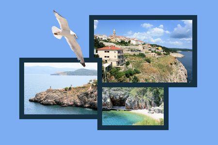 Ontwerp voor briefkaart, Vrbnik, eiland Krk, Kroatië