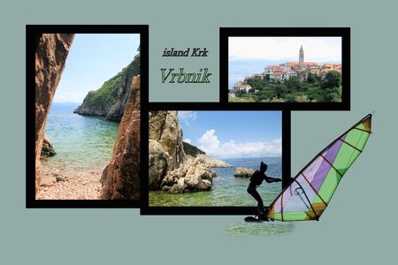 fishing village: Design for postcard, Vrbnik, island Krk, Croatia, with text