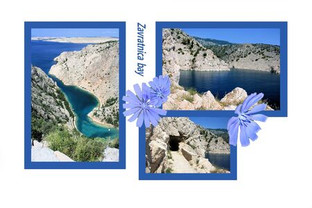 brook: Design for postcard, Jablanac, Zavratnica bay, Croatia, with text