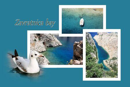 combi: Design for postcard, Jablanac, Zavratnica bay, Croatia, with text