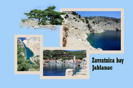 Design for postcard, Jablanac, Zavratnica bay, Croatia, with text photo