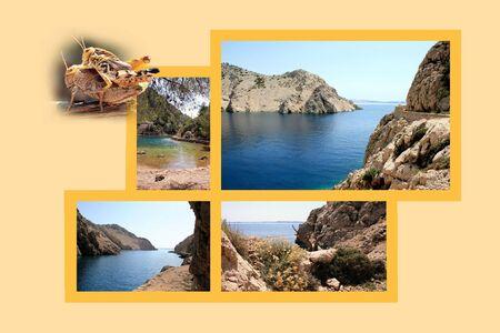 Design for postcard, Jablanac, Zavratnica bay, Croatia