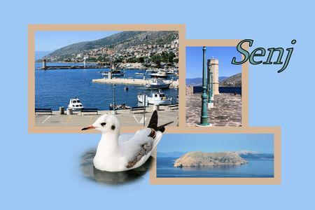 Design for postcard, Senj, Croatia, with text Stock Photo