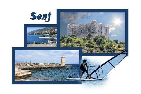 panoramic beach: Design for postcard, Senj, Croatia, with text Stock Photo
