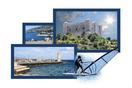 panoramic beach: Design for postcard, Senj, Croatia