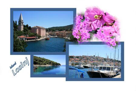 Design for postcard, island Losinj, Croatia, with text photo