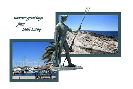 Design for postcard, Mali Losinj, Croatia, with text photo
