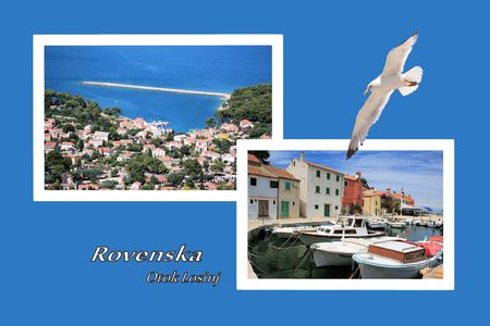 Design for postcard, Rovenska, Croatia, with text Stock Photo