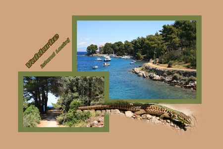 Design for postcard, Valdarke, Croatia, with text Stock Photo
