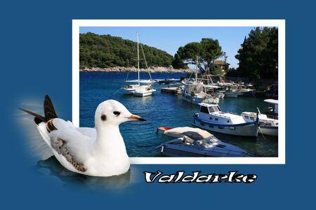 combi: Design for postcard, Valdarke, Croatia, with text Stock Photo