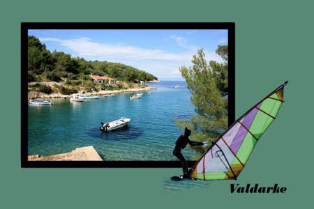 Design for postcard, Valdarke, Croatia, with text photo