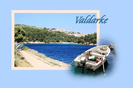 Design for postcard, Valdarke, Croatia, with text Stock Photo