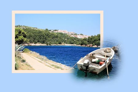 Design for postcard, Valdarke, Croatia Stock Photo