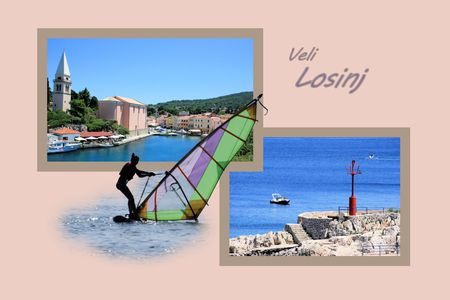 Design for postcard, Veli Losinj, Croatia, with text photo