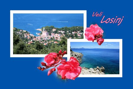 panoramic beach: Design for postcard, Veli Losinj, Croatia, with text