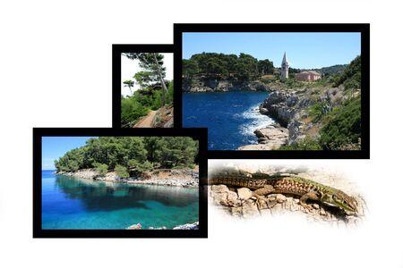 combi: Design for postcard, Veli Losinj, Croatia Stock Photo