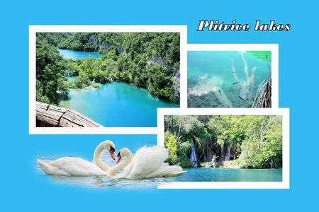 Design for postcard, n.p. Plitvice, Croatia, with text photo
