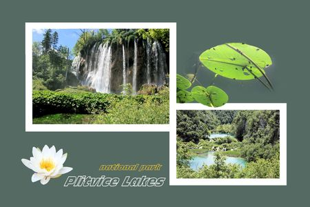 Design for postcard, n.p. Plitvice, Croatia, with text