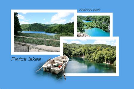 np: Design for postcard, n.p. Plitvice, Croatia, with text