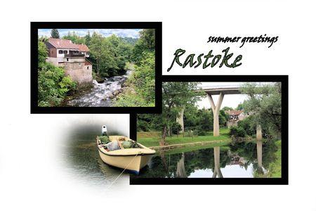 Design for postcard, Rastoke, Slunj, Croatia, with text photo
