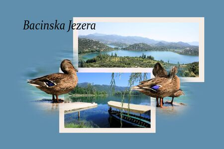 Design for postcard, Lake Bacinska, Croatia, with text photo