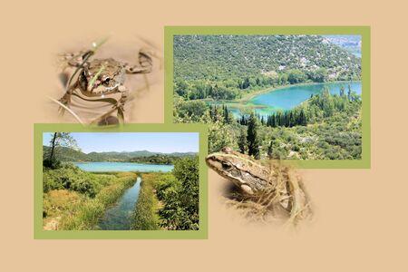 Design for postcard, Lake Bacinska, Croatia photo