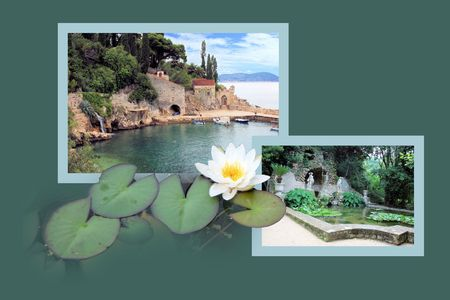 Design for postcard, Trsteno, Croatia photo