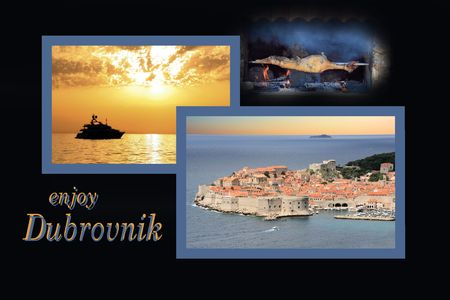 Design for postcard, Dubrovnik, Croatia, with text photo