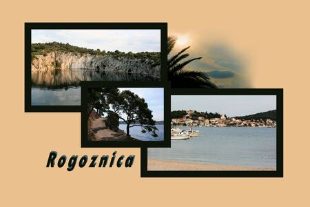 walking trail: Design for postcard, Rogoznica, Croatia, with text Stock Photo