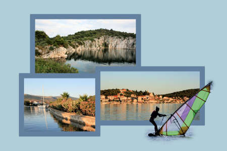 panoramic beach: Design for postcard, Rogoznica, Croatia Stock Photo