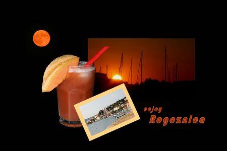 combi: Design for postcard, Rogoznica, Croatia, with text Stock Photo